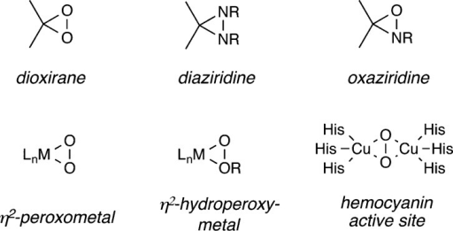 Representative oxidizing heterocycles with two electrophilicheteroatomswithin a three-membered ring.