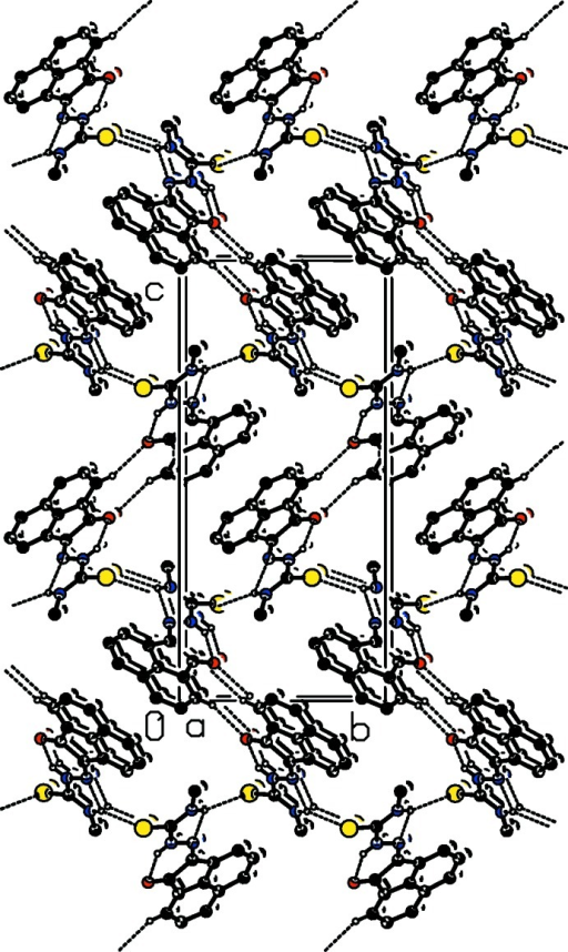 The crystal packing of the title compound viewed along the a axis. Hydrogen bonds are shown as dashed lines (see Table 1 ▶ for details; H atoms not involved in hydrogen bonding have been omitted for clarity).