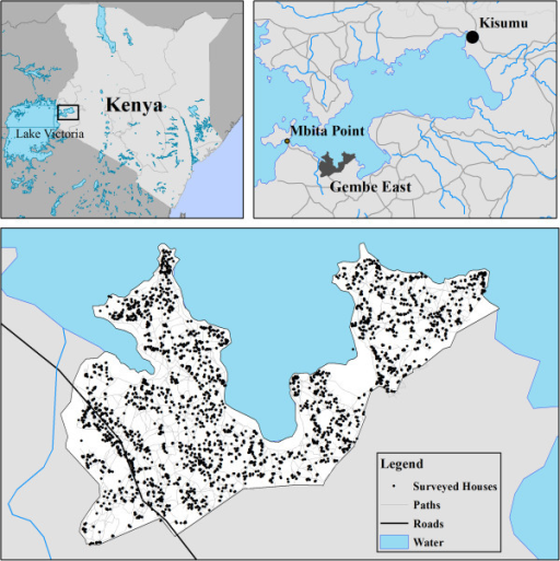 Location of study site in the Gembe East area of Mbita District of Nyanza Province, and locations of individual households that were part of the intervention and surveillance.