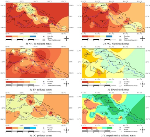 The spatial pattern of the polluted and risky vulnerable zones across the Honghe River Watershed based on pollution index.