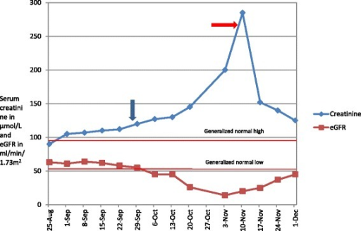 Temporal trend in the creatinine and eGFR of our patient (from 1stadmission till most recent follow up). Note- the two lines 'generalized high' and 'generalized low' depict the values of serum creatinine. Blue arrow-Cefepime start date -28/9, red arrow Cefepime stop date -5/11.