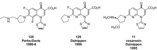 Comparison of the structures of N-thiazole quinolone analogs from Parke Davis and Dainippon.
