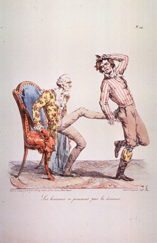 <p>An old man rising up out of his chair to plant his foot against the backside of a young man.</p>