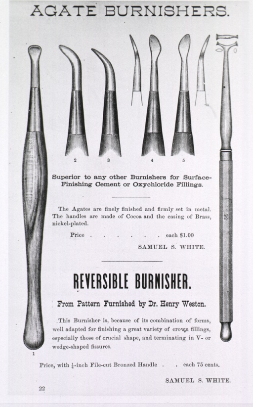 <p>Advertisement showing various styles of burnishers.</p>