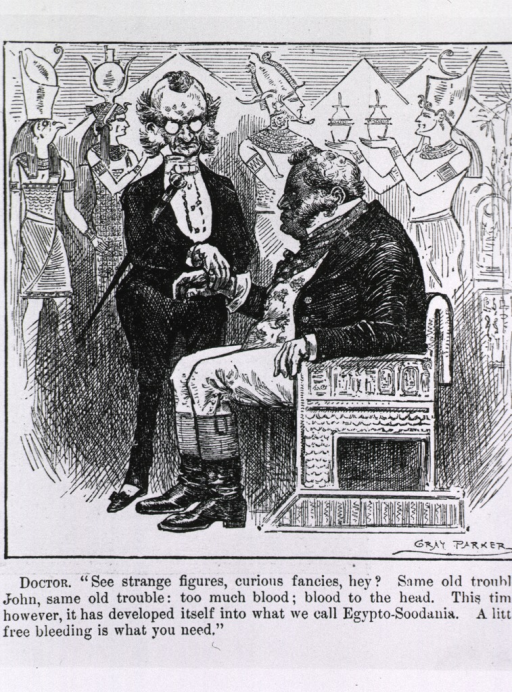 <p>A physician is taking the pulse of John Bull who is sitting in an ancient Egyptian style chair against a mural of Egyptian figures and pyramids.</p>