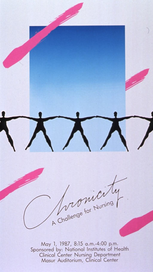 <p>White poster with black lettering announcing workshop May 1987.  Also lists time, sponsors, and location.  Central image is five black human figures, resembling paper cut-outs, strung hand-in-hand across an aqua rectangle.  Four horizontal magenta slashes in the style of brush strokes accent the poster.</p>