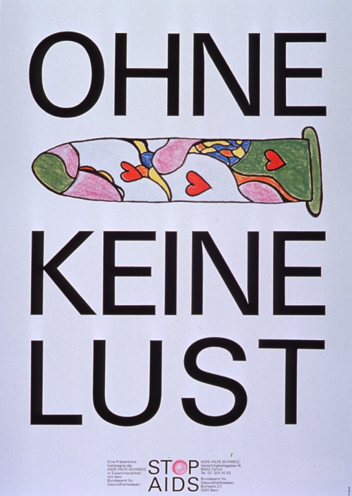 <p>White poster with black lettering.  A reproduction of a hand-drawn condom appears between title words &quot;ohne&quot; and &quot;keine,&quot; perhaps to be read as a rebus puzzle.  The condom is illustrated with a multicolor design predominently in green and purple, as well as three red hearts.  It appears that the original drawing may have been done with crayon.  Bottom of poster features &quot;STOP AIDS&quot; logo, in which the &quot;O&quot; is represented by a new condom, and text indicating that &quot;STOP AIDS&quot; is a collaborative prevention program of the two publishers.  Publishers' addresses also given.</p>