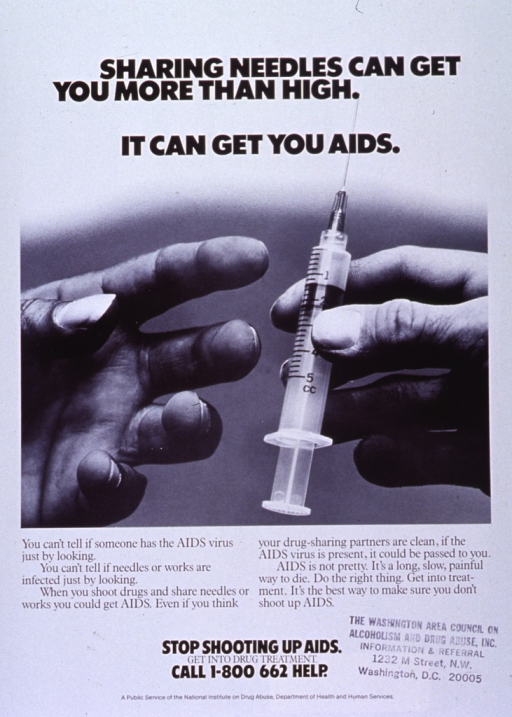 <p>White poster with black lettering.  Title at top of poster.  Visual image is a reproduction of a b&amp;w photo of a syringe being passed from one hand to another.  Caption below photo stresses the relationship between I.V. drug use and AIDS.  Note, phone number, and publisher information near bottom of poster.  Address for Washington Area Council on Alcoholism and Drug Abuse also stamped on poster.</p>