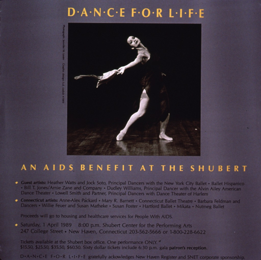 <p>Gray poster with the title in yellow and a photo reproduction of a woman performing a dance on stage. The text of the poster lists the artists, details on when and where the performance will be held, information on buying tickets, and how the proceeds will be used.</p>