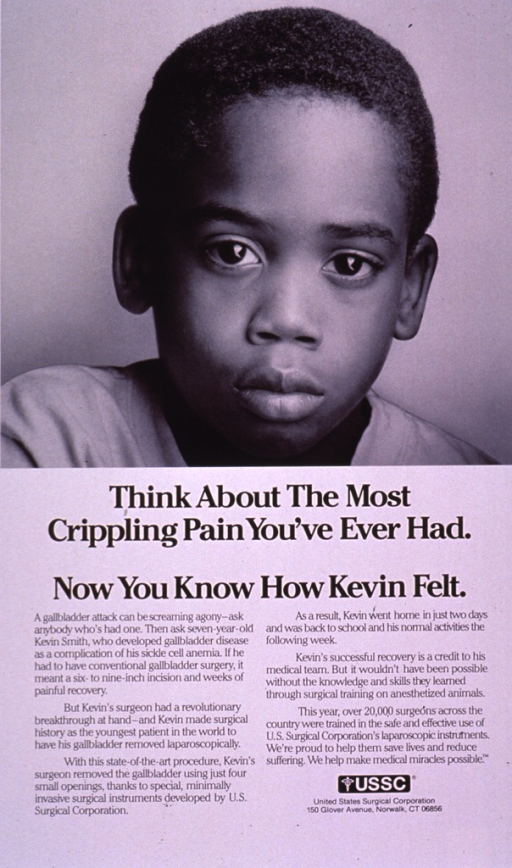 <p>Predominantly white poster with black lettering.  Visual image is a b&amp;w photo reproduction featuring a young boy's face.  Title and caption below photo.  Publisher information near lower right corner.</p>