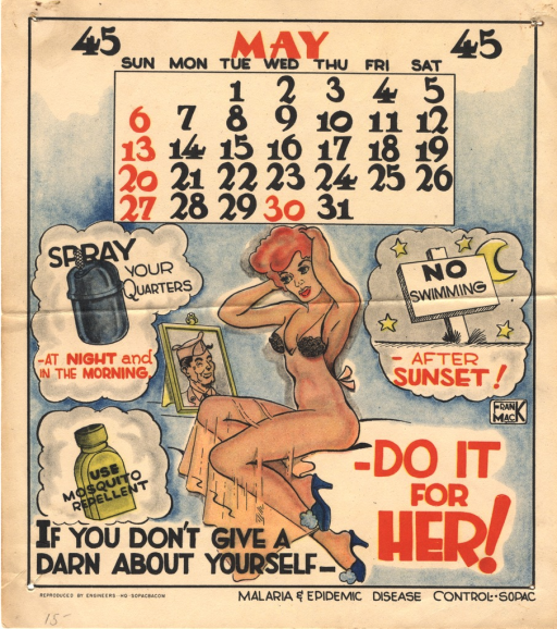 <p>A pin-up model scantily clad adjusts her hair while she stares at the photograph of a man in military uniform. Around her are thought bubbles containing illustrations of a spray, a bottle of mosquito repellent, and a  &quot;No Swimming&quot; sign, a warning of after sunset swimming.</p>