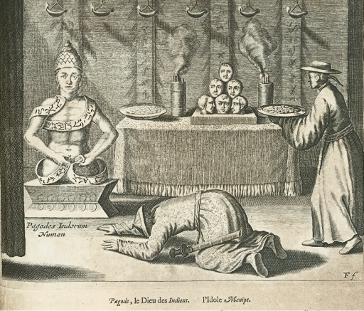 <p>Image of a Tibetan Buddha statue beside the many-headed Avalokiteshvara, confusingly called Menipe, which sits on an altar. Foreground includes one visitor bowing while the other offers a gift. Illustration from p. 177 of Kircher's La Chine.</p>