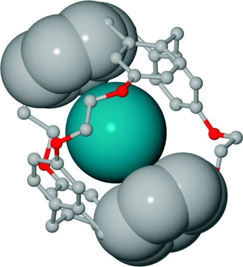 Zoomed view of the Xe-2 complex. This highlights van der Waals interactions between phenyl carbon atoms and xenon. Hydrogen atoms and side chains were removed for clarity. Only Xe atom and two phenyl groups from opposing CTG units are depicted with van der Waals radii.