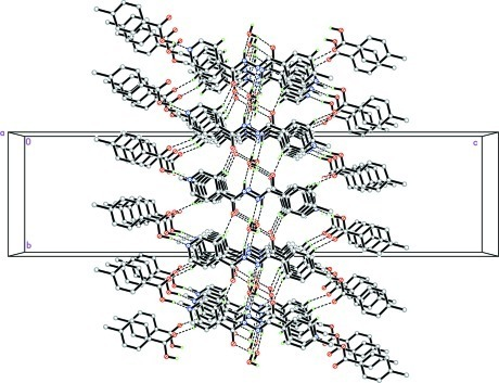The crystal packing of the title compound, viewed along the a axis. H atoms not involved in the intermolecular interactions (dashed lines) have been omitted for clarity.