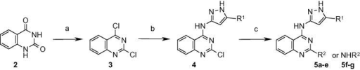 Reagents and conditions: (a) POCl3, N,N-dimethylaniline, reflux; (b) 3-amino-5-R1-pyrazole, EtOH, 20 °C; (c) R2B(OH)2, Pd(PPh3)2Cl2, Et3N, MeOH, microwave, 140 °C or R2NH2, EtOH, microwave, 150 °C.
