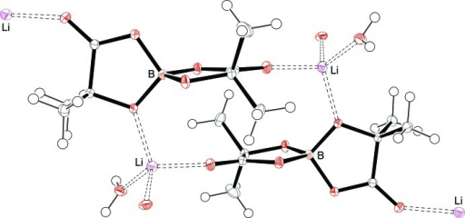A 12-membered macrocycle formed from two LiBMLB-H2O units. Thermal ellipsoids are at 50% probability (Li-purple, O-red, B-tan, C-grey).