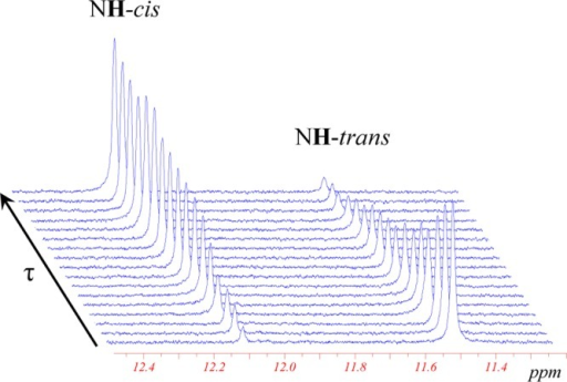 Evolution of 1H NMR spectra (300MHz) of the [trans-OsCl4(NO)(Hind)]− isomer in the NH region as a functionof time (τ = [0–3] × 105 s) at 120 °Cin C2D2Cl4 (C0 = 15.26 mmol/L) showing the formation of the cis isomer (for complete aromatic region spectrum, see Supporting Information Figure S5).