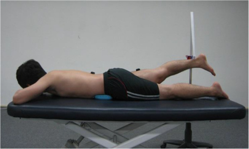 Experimental posture used to measure hamstring, gluteus maximus, and lumbar erector spinae muscle onset times during prone hip extension.