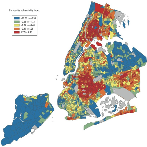 NYC census tracts according to composite heat vulnerability index. The indexis composed of z-scores of the following variables: (+)proportion of homes receiving public assistance, (+) proportion ofnon-Hispanic black residents, (+) proportion of overall deaths occurring inthe home, (+) relative surface temperature, (–) proportion of trees. Ahigher composite index score indicates a residential area with a higher riskof heat-related mortality.