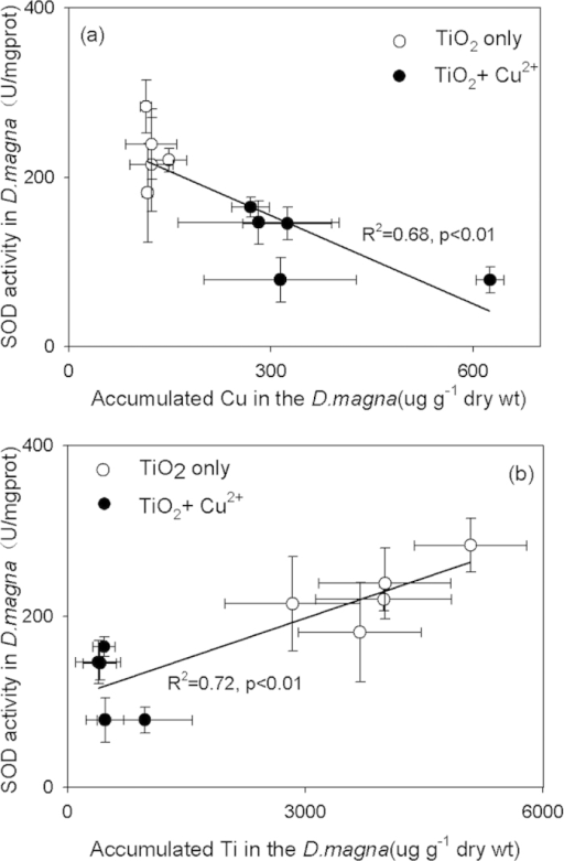 Relationships between SOD activity and accumulated Cu(a) and Ti (b) in D. magna after 48 h exposure to the TiO2 samples prepared with varying RF in the absence and presence of Cu2+. Mean ± standard deviation (n = 3).