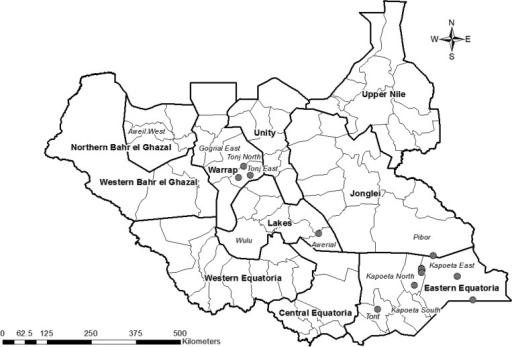 Map of South Sudan indicating the location of 17 villages or village clusters where 34 cases of human sparganosis were detected during 2013–2014.