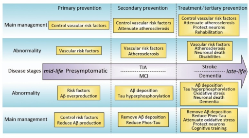 Pathophysiological abnormalities and management of stroke and AD. The development of AD is similar to that of stroke. Both diseases start at mid-life and affect the elderly and can be divided into presymptomatic, TIA/MCI and stroke/AD dementia stages. Aβ and various risk factors for AD are analogous to the vascular risk factors for stroke; they, like vascular risk factors, represent the etiology of the disease. Both diseases have different pathophysiological abnormalities and, correspondingly, different therapeutic targets at different stages of the diseases. Abbreviations: Aβ, amyloid-β; TIA, transient ischemic attack; MCI, mild cognitive impairment; phos-Tau, phosphorylated Tau