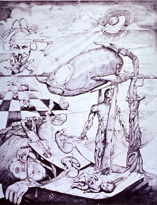 <p>Surrealistic representation of the role of an obstetrician.</p>