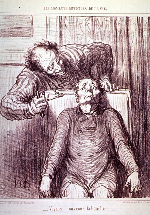 <p>A terrified man sits gripping the arms of a chair as a dentist approaches from behind.</p>