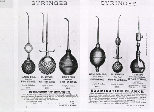<p>Advertisement showing several varieties of syringes.</p>