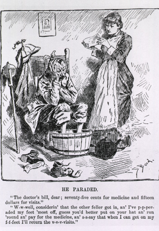 <p>He paraded [on the occasion of the election of Grover Cleveland, and now must pay his medical bills - cartoon].</p>