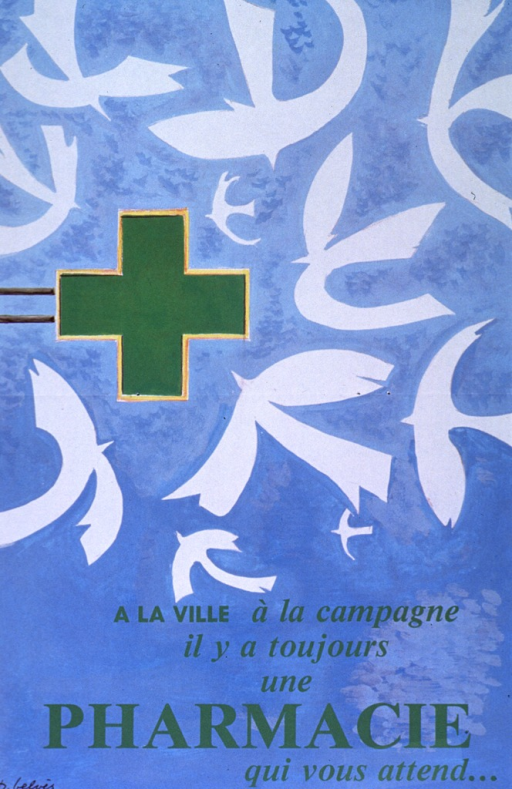 <p>Light blue poster with green lettering.  Visual image dominates poster.  It is an illustration in which several abstract white birds flock toward a green cross.  Title in lower portion of poster.  Artist's name in lower left corner.</p>