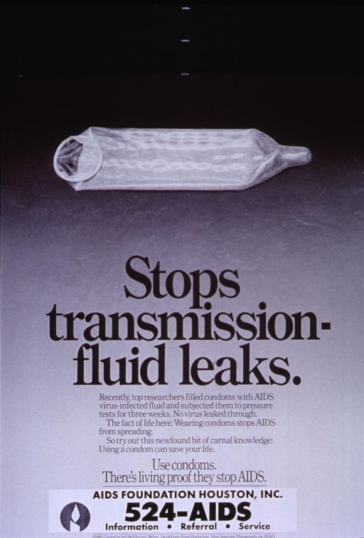 <p>Visual motif: a used condom is centered above the text.</p>