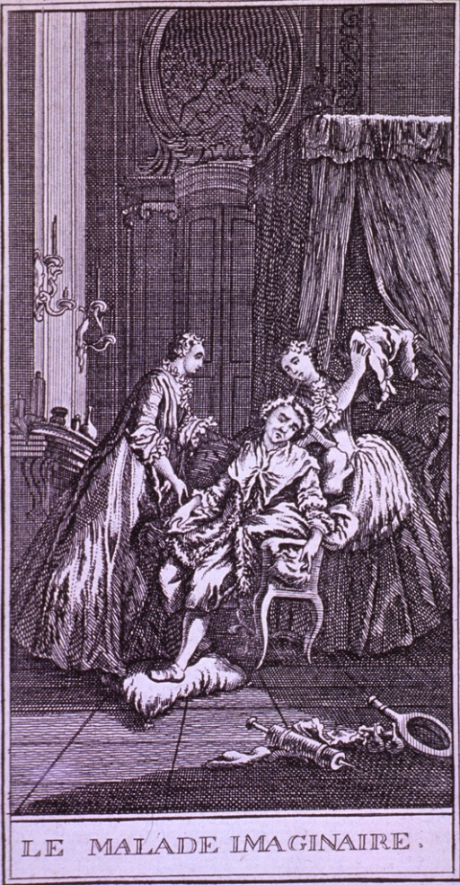 <p>A despondent woman sits in a chair while two women attendants try to comfort her; there is a clyster on the floor in the foreground.</p>