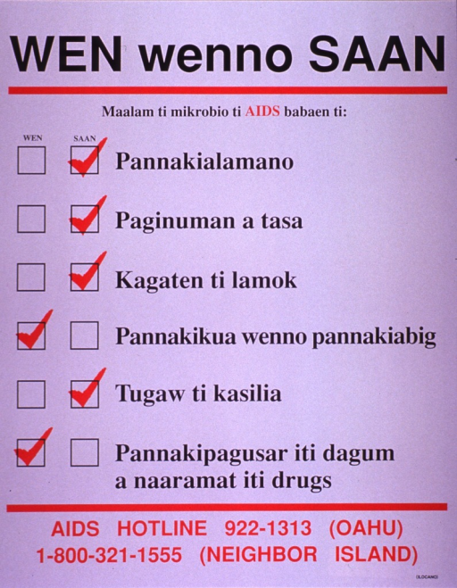 <p>White poster with red and black lettering.  Title at top of poster.  Note text dominates poster, with yes and no check boxes and marks next to each of six risk factors or myths about AIDS transmission.  Myths include getting AIDS from handshakes, drinking cups, mosquito bites, and toilet seats.  Risk factors include having sex and sharing drug needles.  AIDS hotline numbers for Hawaii at bottom of poster.</p>