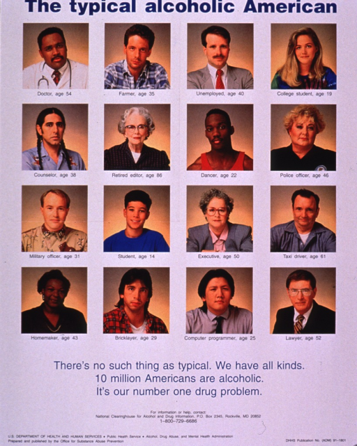 <p>White poster with the portraits of 16 people, four rows of four, from various socioeconomic backgrounds. Each portrait has the age and occupation of the person to show how widespread the disease is. The ages range from 14 to 86 and the occupations vary from student to doctor. The title and picture caption are in blue print and the remainder of the information is in smaller black print at the bottom of the poster.</p>