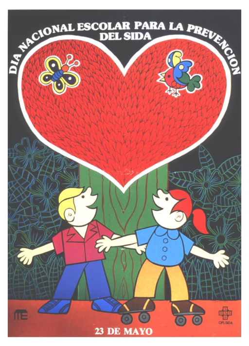 <p>A boy in sneakers and a girl on roller skates stand side by side looking up at a tree.  The leaves of the tree are enclosed in a heart shape, with a butterfly and a bird fluttering in the leaves.</p>
