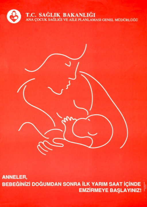 <p>Red poster with white lettering.  Publisher information at top of poster.  Visual image is an abstract line drawing of a mother breastfeeding her baby.  Title below drawing.</p>