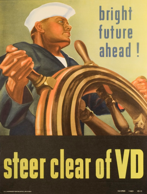 <p>Predominantly yellow-green poster with blue and green lettering. A sailor, with a determined look on his face, stands steering a ship's wheel with both hands. Title below image. Publisher information below title. &quot;NAVPERS&quot; in lower right-hand corner of poster.</p>