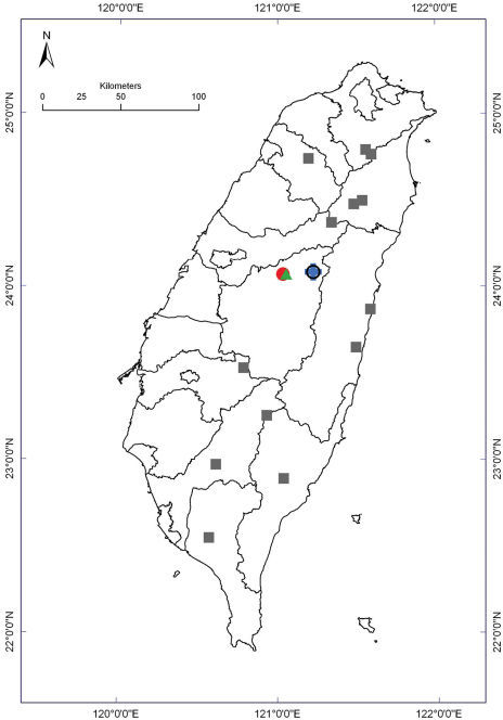 Distribution of Epanerchodus species in Taiwan. Borderlines show borders between the counties. Epanerchodus bispinosus sp. n.: empty black circle; Epanerchodus curtigonopus sp. n.: blue cross; Epanerchodus flagellifer sp. n.: filled green triangles; Epanerchodus orientalis: filled grey squares; Epanerchodus pinguis sp. n.: filled red circle.