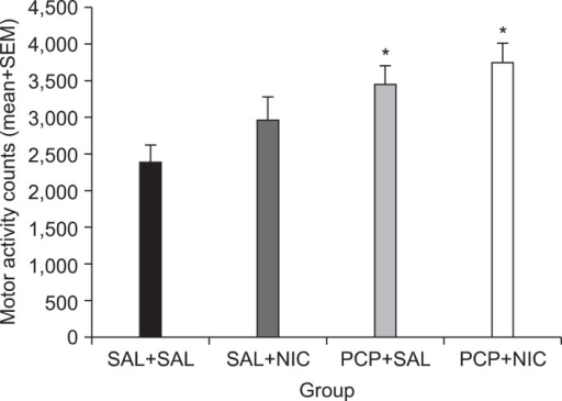 Effects of repeated administration of SAL, PCP (3.0 mg/kg, sc), and NIC (0.4 mg/kg, sc) on the expression of PCP locomotor sensitization during the PCP challenge test in the four groups of rats (n=16/group) that were previously treated with SAL+SAL, SAL+NIC, PCP+SAL, and PCP+NIC. Each rat was injected with PCP 1.5 mg/kg, sc, and locomotor activity (mean+SEM) was recorded for 90 minutes. *p<0.05 significantly different from the SAL+SAL control group. SAL, saline; PCP, phencyclidine; NIC, nicotine; SEM, standard error of the mean; SEM, standard error of the mean.
