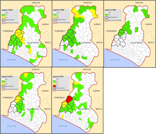 Malaria stratification maps in Kulon Progo District including in Kokap Sub District, 2007–2011 (red = HCI village, yellow = MCI village, green = LCI village).