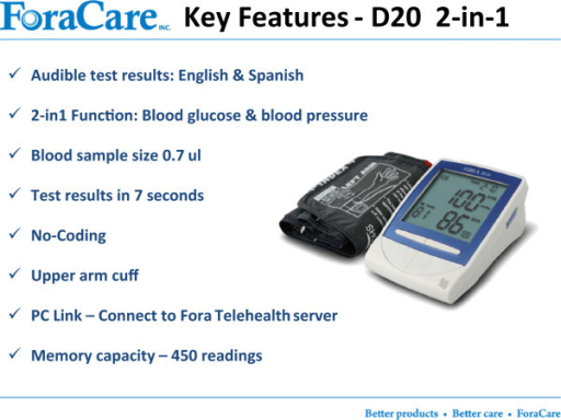 The FORA two-in-one blood glucose and blood pressure device (D20).