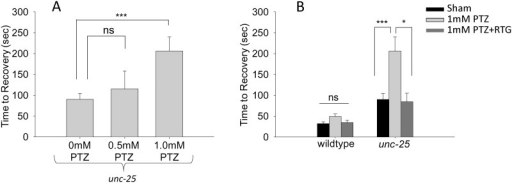 Low concentrations of PTZ increase recovery times in unc-25 mutants.(A) Electric shock recovery times for unc-25 mutants treated with varying doses of PTZ. (B) 1 mM PTZ significantly extended recovery time of unc-25 mutants. This effect was reversed by treatment of unc-25 mutants with a cocktail of 1 mM PTZ + 1 mM RTG. Error bars represent standard error of the mean and significance was determined using Student's t-test where ***P≤0.001 and *P≤0.05 ns = not significant P>0.05 and n≥13.