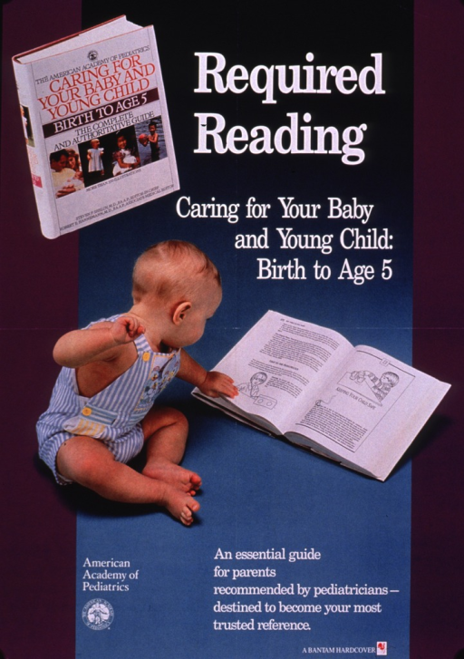 <p>Predominantly purple and teal poster with white lettering.  Title at top of poster, accompanied by a color photo reproduction showing the book being advertised.  Note below title.  Dominant visual image is a color photo reproduction featuring a toddler looking at the open book.  Publisher information and caption at bottom of poster.</p>