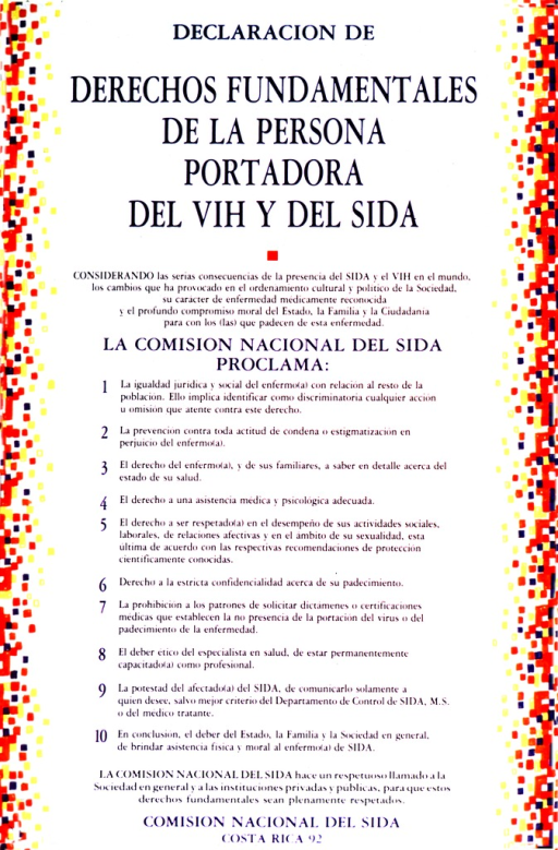 <p>Poster consists of text only.  The side borders are made up of small, brightly colored squares.</p>