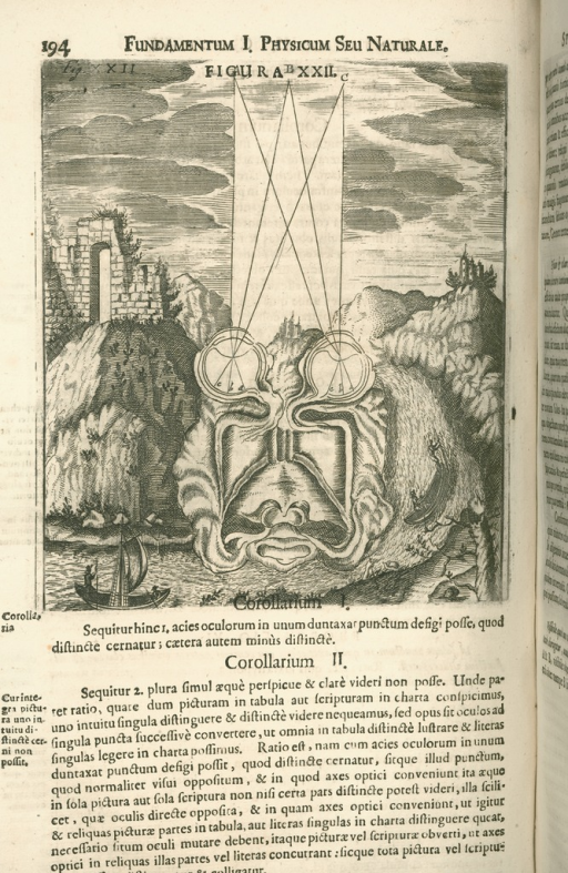 <p>Image of v. 1 p. 194 from Johann Zahn's Oculus artificialis teledioptricus, showing a drawing of the eyes and optical nerves removed from the body and placed in a stylized baroque landscape. There is text underneath the drawing.</p>