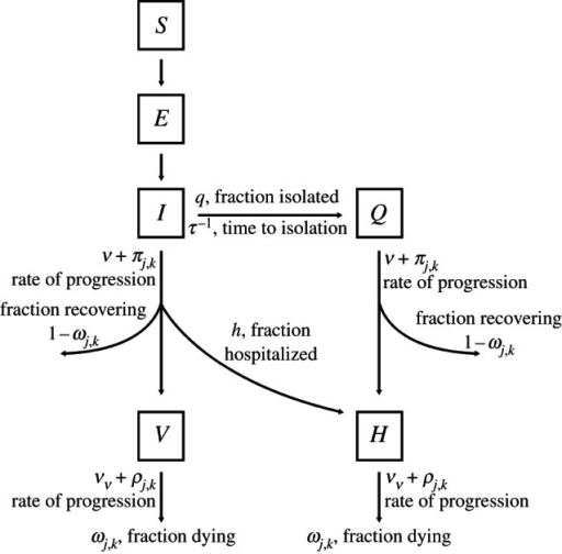 Class diagram for the model. Individuals can be susceptible (S), exposed (E), infectious (I), infectious with severe disease (V), isolated (Q) and hospitalized (H). Each infected individual is infected with a particular strain (j,k), which corresponds to a rate of progression and probability of recovery for that individual. Note the distinction between fractions and rates among the parameters.