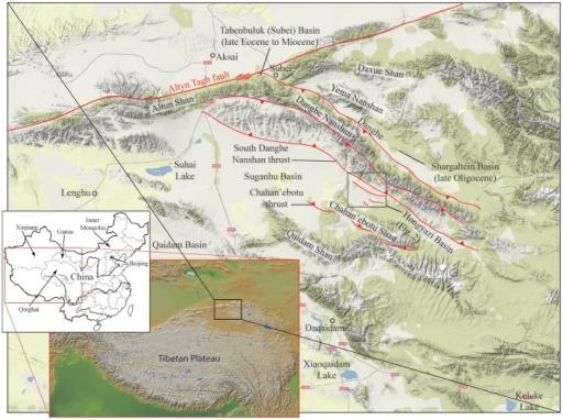 Terrain map of northern part of Qaidam Basin and surrou ...Qaidam Basin Geology