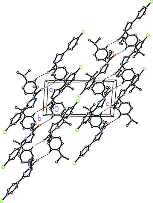 Molecular packing for (I) viewed along the <b axis. Dashed lines indicate weak C—H···O hydrogen bonds. H atoms not involved with these weak intermolecular interactions have been removed for clarity.