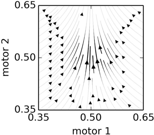 The influence of a single node. This plot shows the combined influence of single node, located at Np = (0.5, 0.5) with Nv = (0, 0.1) in a hypothetical 2-motor, 0-sensor IDSM. The Nv is exactly vertical, so all horizontal motion is due to the attraction factor, and vertical motion is due to the velocity factor. See Equations (6–9) and main text for details.